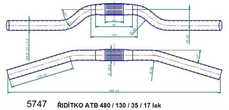 Řídítko ATB 480 lak