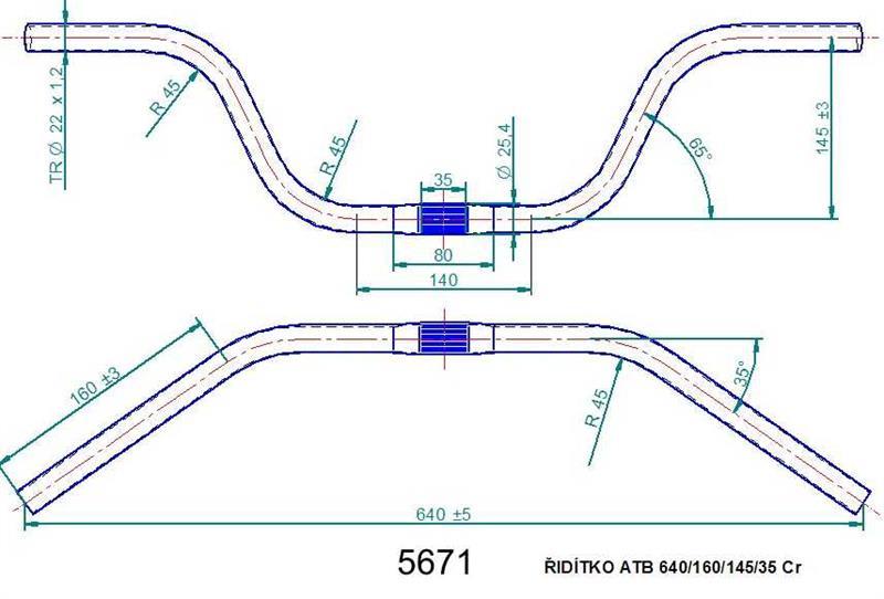 Řídítko ATB 640 chromované