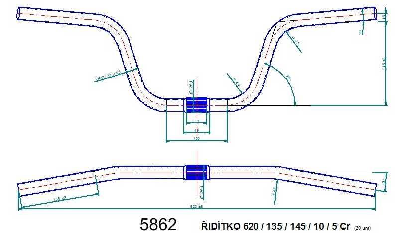 Řídítko ATB 620 chromované